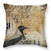 French Bird Postcard Throw Pillow