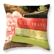 French Books And Peony Throw Pillow