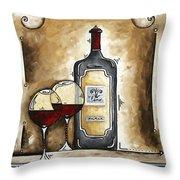 French Bordeaux Original Madart Painting Throw Pillow