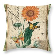 French Botanical Damask-a Throw Pillow