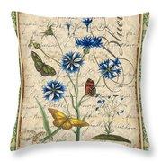 French Botanical Damask-b Throw Pillow