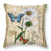 French Botanical Damask-d Throw Pillow