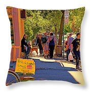 French Bread On Laurier Street Montreal Cafe Scene Sunny Corner With Vente De Garage Sign Throw Pillow