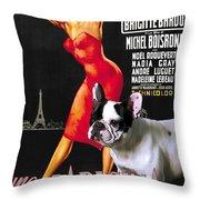 French Bulldog Art - Una Parigina Movie Poster Throw Pillow