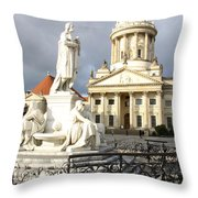 French Cathedral And Statue Gendarmenmarkt Germany Throw Pillow