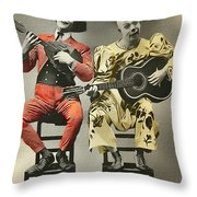 French Clown Musicians Vintage Art Reproduction Tint Throw Pillow