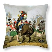 French Cuirassiers At The Battle Throw Pillow by John Augustus Atkinson