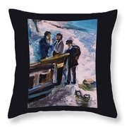 French Fishermen At Beach At Sainte Adresse Throw Pillow