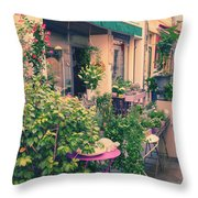 French Floral Shop Throw Pillow