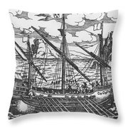 French Galley Operating In The Ports Of The Levant Since Louis Xi  Throw Pillow