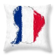 French Guiana Painted Flag Map Throw Pillow
