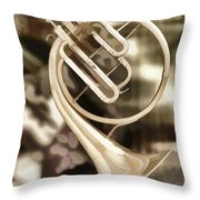 French Horn Antique Classic Painting In Color 3428.02 Throw Pillow