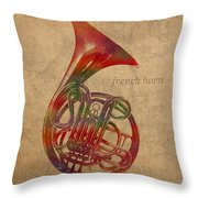 French Horn Brass Instrument Watercolor Portrait On Worn Canvas Throw Pillow