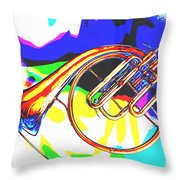 French Horn Painting Antique Classic In Color 3426.02 Throw Pillow