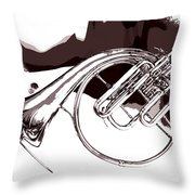 French Horn Painting Antique Classic In Sepia 3426.01 Throw Pillow