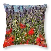 French Lavender Field Throw Pillow