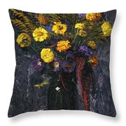 French Marigold Purple Daisies And Golden Sheaves Throw Pillow
