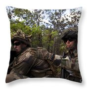 French Marines Scout Ahead Of A Patrol Throw Pillow