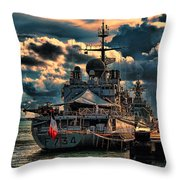 French Naval Frigate Throw Pillow
