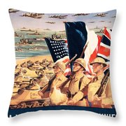 French Propaganda Poster Published In Algeria From World War II 1943 Throw Pillow
