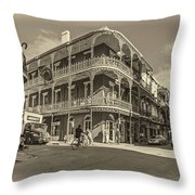 French Quarter Afternoon Sepia Throw Pillow