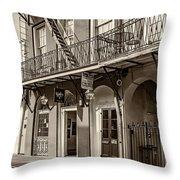 French Quarter Art And Artistry Sepia Throw Pillow