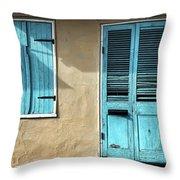 French Quarter Blues Throw Pillow