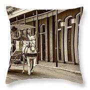 French Quarter Carriage Ride Sepia Throw Pillow