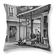 French Quarter - Hangin' Out Bw Throw Pillow by Steve Harrington