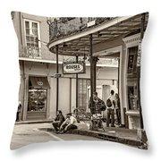 French Quarter - Hangin' Out Sepia Throw Pillow