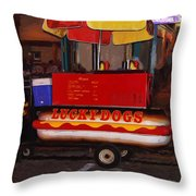 French Quarter Late At Night Throw Pillow
