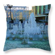 French Quarter Water Fountain Throw Pillow