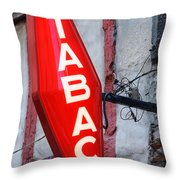 French Tobacconist Sign Throw Pillow