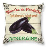French Vegetable Sign 3 Throw Pillow by Debbie DeWitt
