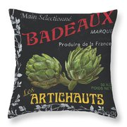 French Veggie Labels 1 Throw Pillow by Debbie DeWitt