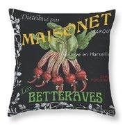 French Veggie Labels 2 Throw Pillow by Debbie DeWitt