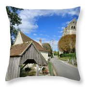 French Village Road Throw Pillow by Olivier Le Queinec