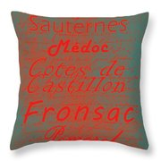French Wines - 5 Champagne And Bordeaux Region Throw Pillow