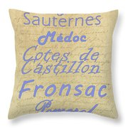 French Wines - Champagne And Bordeaux Region-1 Throw Pillow