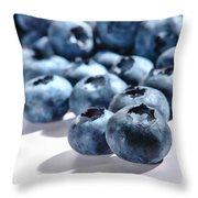 Fresh And Natural Blueberries Close Up On White Throw Pillow