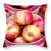 Fresh Apples In Buschel Baskets At Farmers Market Throw Pillow