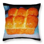 Fresh Baked Bread Three Bun Loaf Throw Pillow