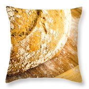 Fresh Baked Loaf Of Artisan Bread Throw Pillow
