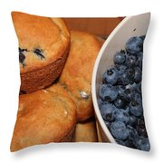 Fresh Blueberries And Muffins Throw Pillow