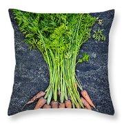 Fresh Carrots From Garden Throw Pillow by Elena Elisseeva