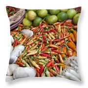 Fresh Chili Peppers Throw Pillow