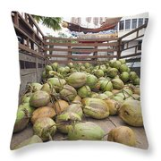 Fresh Coconuts Delivery Truck Throw Pillow
