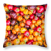 Fresh Colorful Hot Peppers Throw Pillow