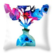 Fresh Cut - Vibrant Flowers Floral Painting Throw Pillow