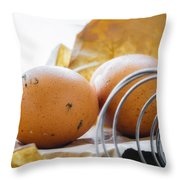 Fresh Eggs Just Laid Throw Pillow